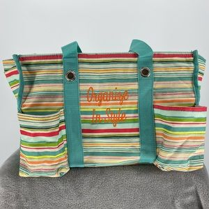 Thirty One Utility Tote Sunny Stripes Zipper Top